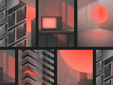 The Apocalypse | Illustrations sun poster architecture night lights city neon synthwave retrowave apocalyptic post apocalyptic gradient isometric design isometric affinity designer graphic  design vector illustration graphic design