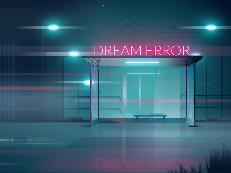 Dream Error design night vector neon light neon mist light illustration graphic  design graphic cyberpunk city blade runner bladerunner affinity designer affinitydesigner