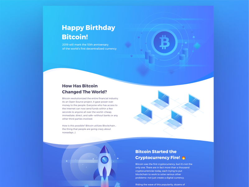 10 Years of Bitcoin | Infographic Landing Page isometric blue business finances cryptocurrency crypto btc anniversary bitcoin infographic web gradient ui illustration affinitydesigner graphic  design affinity designer graphic design vector