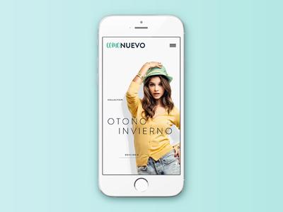 ComoNuevo fashion gradient flat green white minimal brand mobile design web interface ui
