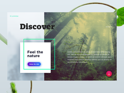 Landing nature gradient app ux nature landing interface design layout web ui