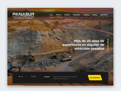 Panasur construction black yellow landing flat site minimal design web interface ui