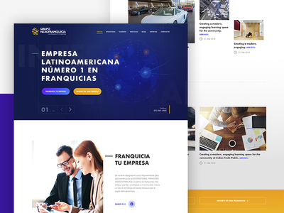 Grupo Nexofranquicia user interface graphic design yellow gradient flat blue white mobile design web interface ui