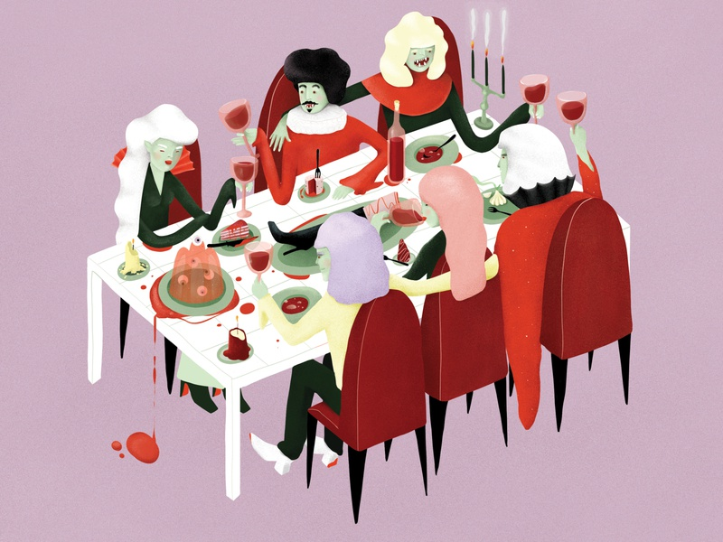 Vampires having a fine dinner evil spooky creepy night style drawing fangs design illustration weeklywarmup scary supper dinner blood monster food party halloween vampires