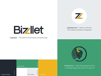Bizzllet Brand Guide timeless elegant branding money bison concept blockchain crypto business wallet