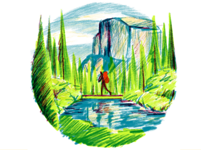 Longing to Be Outside music for the soul music playlist half dome yosemite valley the great outdoors color pencils digital illustration