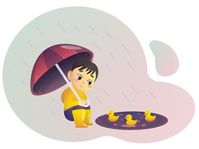 Boy with umbrella and ducklings illustration vector umbrella duckling boy rain