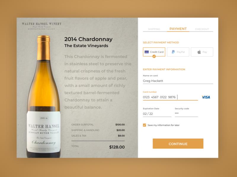 DailyUI #002 - Walter Hansel Winery Checkout ui design wine winery checkout adobe xd adobexd daily ui dailyui
