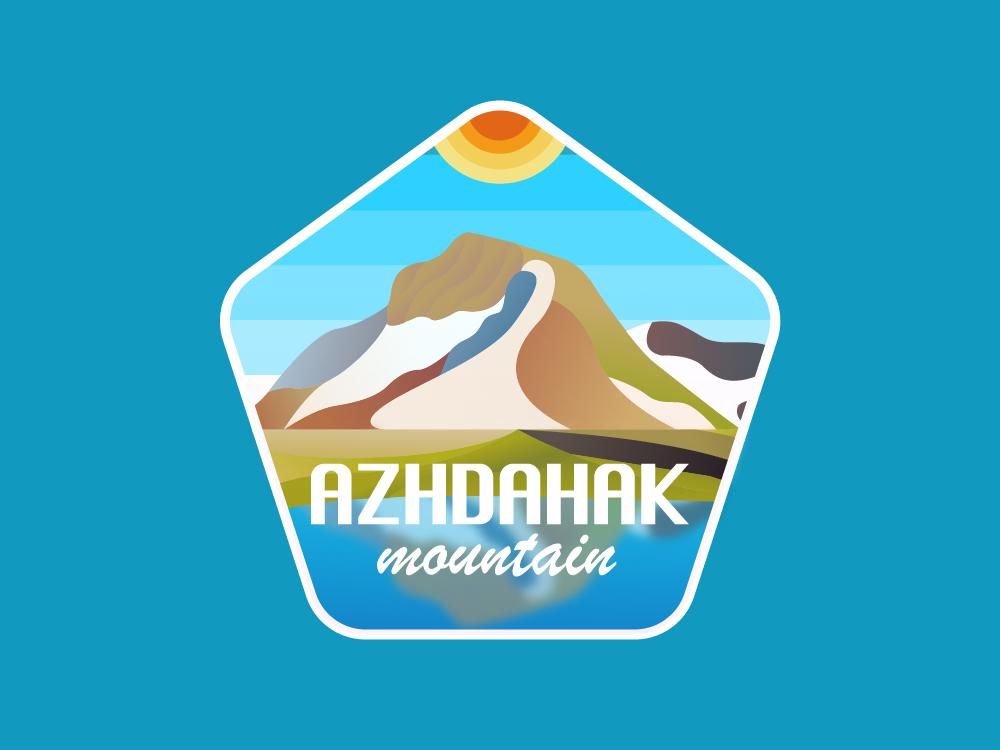 Azhdahak Mountain illustration armenia logo mountains sun patch lake gradient 2d vintage badge logo badge illustration azhdahak mountain