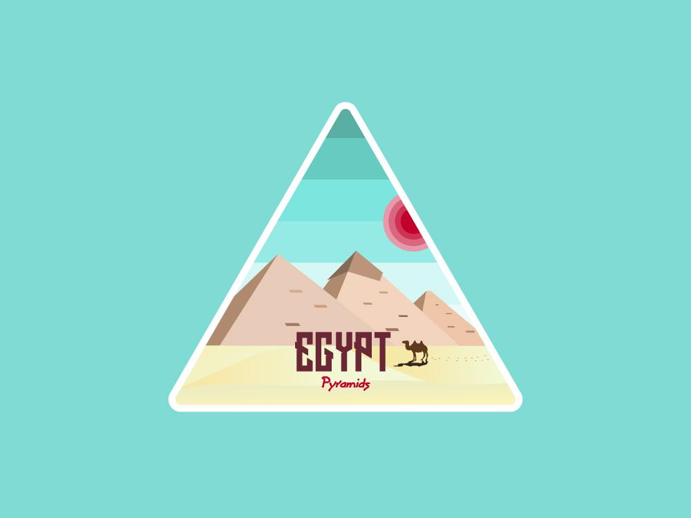 Egyptianian Pyrimids Illustration illustration triangle camel red sun vintage design logo badge patch sticker sun art illustrator pyramids pyramid egypt 2d