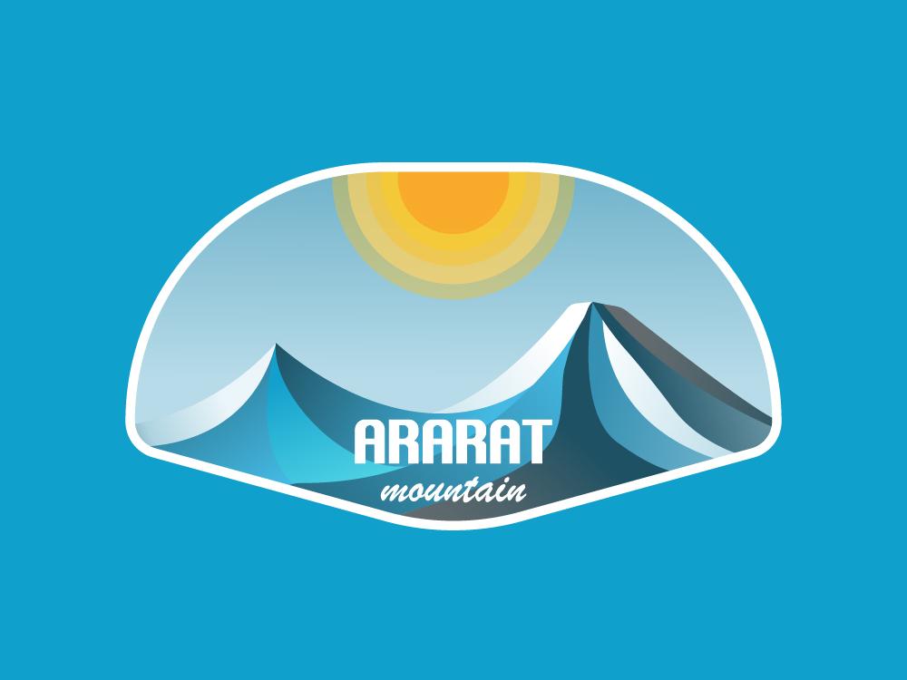 Ararat Mountain Illustration art vintage illustration badge sticker sky sun typography design gradient 2d art 2d armenia logo mountains mountain ararat