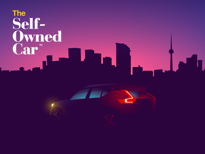 The Self-Owned Car selfdriving lyft uber bitcoin crypto 2d design web illustration automotive