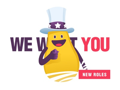 We want you! concept character 2d illustration