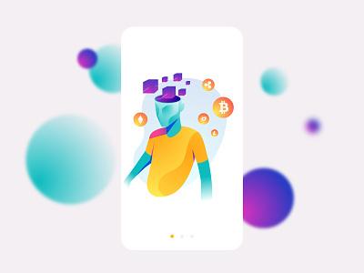 Crypto Future blockchain bitcoin crypto cryptocurrency adobe illustrator gradients vector concept 2d illustration