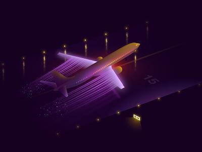 Taking off purples night flight airplane concept 2d illustration