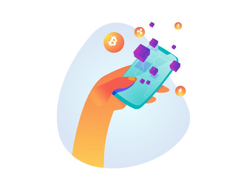 Cripto Future Illustration pack illustration 2d future phone hand blockchain crypto ethereum bitcoin