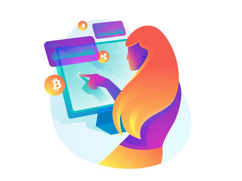 Crypto Future girl ui concept crypto bitcoin 2d character illustration