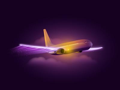 Night cruise vector illustrator airplane concept 2d illustration