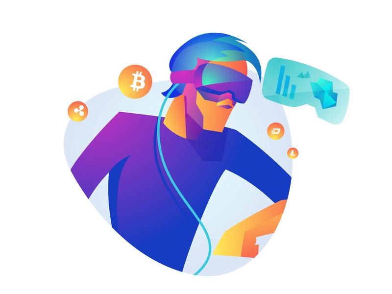 Crypto Future VR man character illustration ethereum bitcoin crypto illustrator vector 2d reality virtual vr