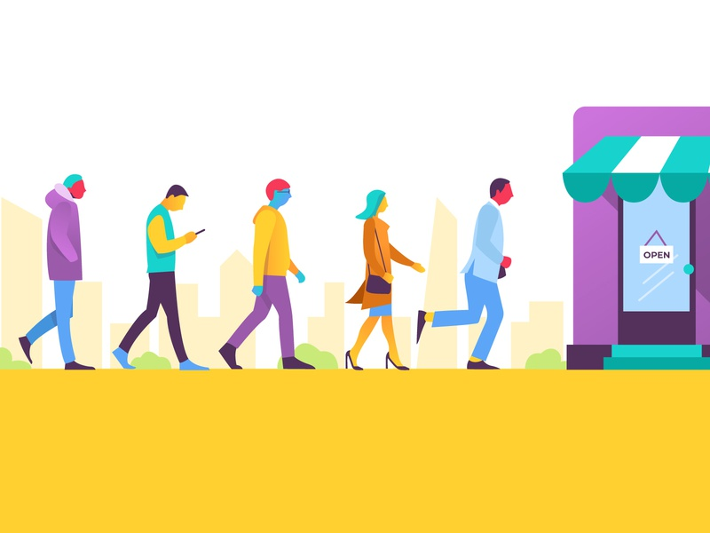Walk the walk vector character 2d illustration