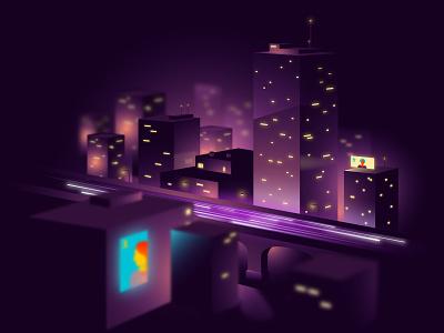 Foggy night vector buildings city 2d illustration