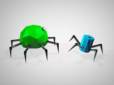 Spider spider joint cinema4d c4d 3d green blue metal steel