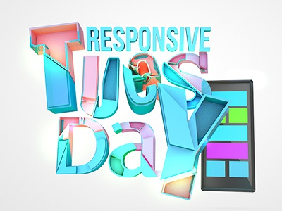 At work mini project - it's tueday 3d typo project colorful responsive tablet atwork cinema 4d