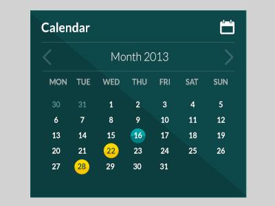 Calendar flat calendar ui day month minimal lato entypo shadow