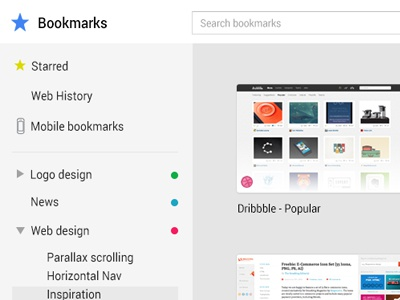 Chrome - Manage Bookmarks chrome google flat bookmarks ui bookmark list tile