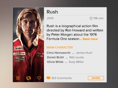 Movie widget button info share blur movie widget ui