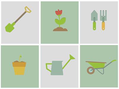 Gardening flat gardening garden tool icons colors flower plant vector
