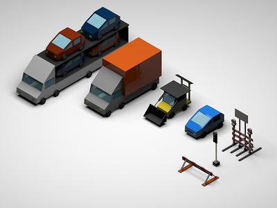 On the road vehicles map lowpoly cinema4d isometric car camion traffic light lights