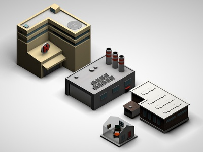 Isometric Map - Building isometric building c4d lowpoly cinema 4d