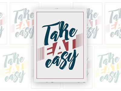 TakeEATeasy lettering vintage script eat logo