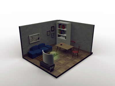 Living Room table isometric tv 3d diorama furniture cinema4d room