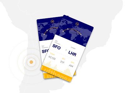 Play the world illustration ticket icon flight blu yellow sketch flat airplane