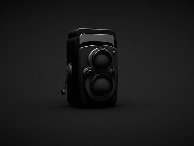 Rolleiflex (sort of..) noir dark black cinema4d 3d camera rolleiflex