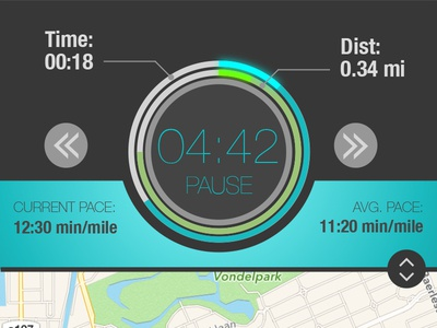 Run distance time pace map timer running redesign ios