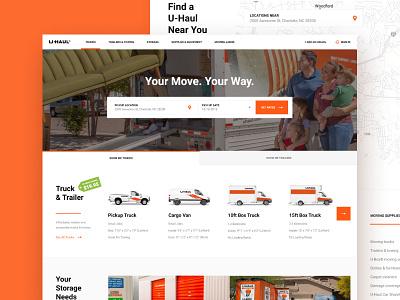 U-Haul Design Challenge Throwback trucks u-haul uhaul homepage ui ux