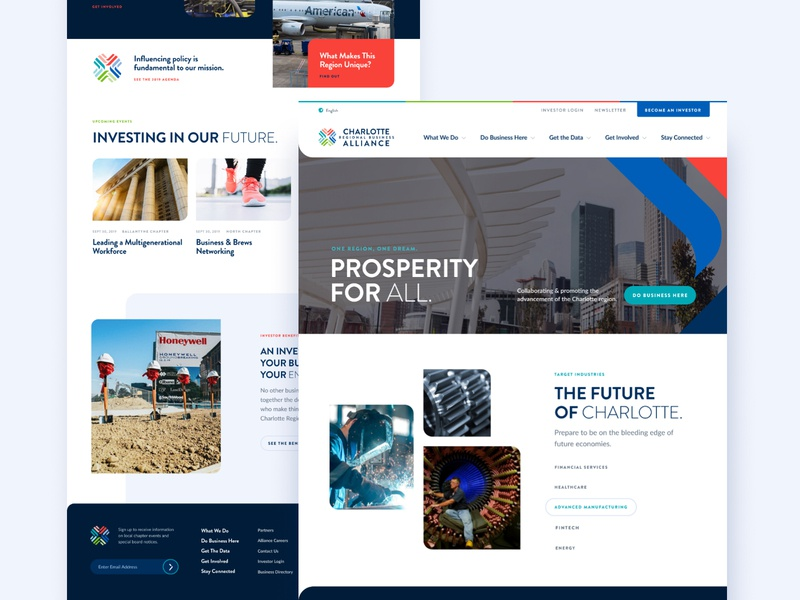 Charlotte Regional Business Alliance (CRBA) Website design crba website ui
