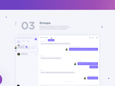 Direct Messaging App - Designership Design Challenge shhhh breaking bad messenger messaging interface chat ux ui