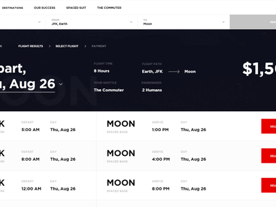 SPACED Experience spaced booking spacedchallenge spacex travel animation flow ui ux webflow