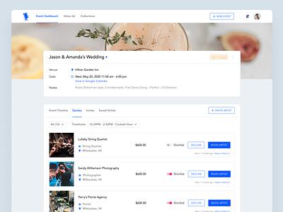 Booklive - event planner product design design planning events music booking hero image navigation cards ui list planner event ui figma ux web app design