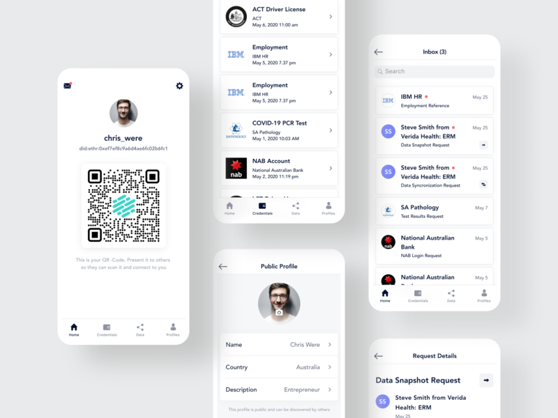 Verida vault mobile app health blockchain data security credential cards list qrcode mobile app iphone x app product design ios app ui