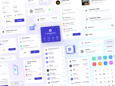 Blockchain service's design system illustrations ui kit web app ios app ui figma app product design eth crypto blockchain design system