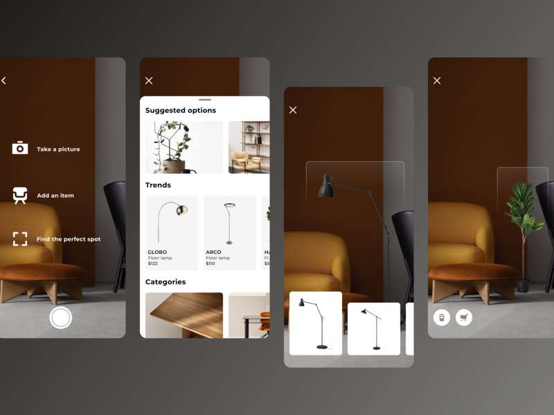 AR: Interior Design ux design ux  ui app ui furniture interior digital product design product design iphone x ios app ar app figma