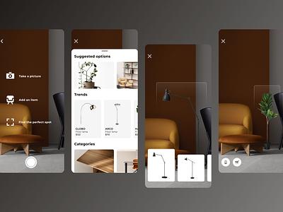 AR: Interior Design ux design ux  ui app ui furniture interior digital product design product design iphone x ios app ar app figma