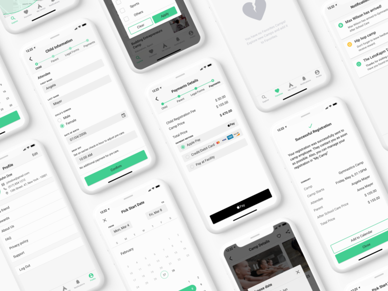 LetsKamp – First-ever summer camp booking app navigation registration payment calendar cards list booking mobile app design product design ux app figma iphone x ios app ui