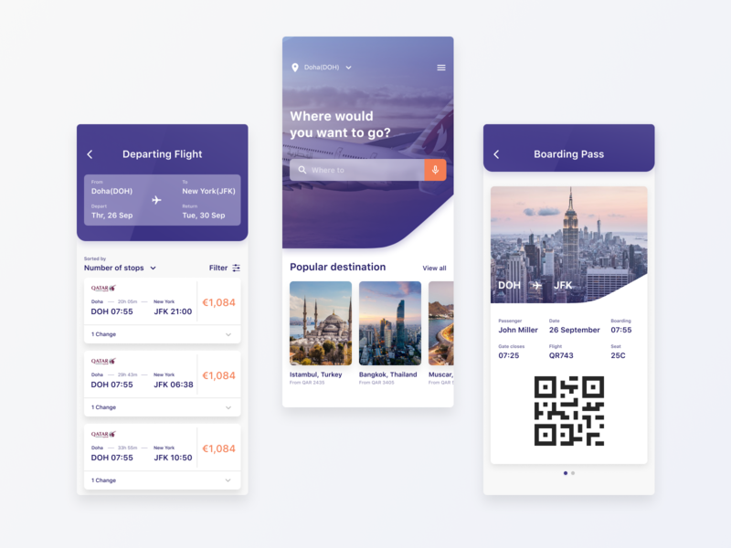 Qatar Airways – redesign concept flight search voice search price cards list search boarding pass booking figma product design iphone x ios app app ui