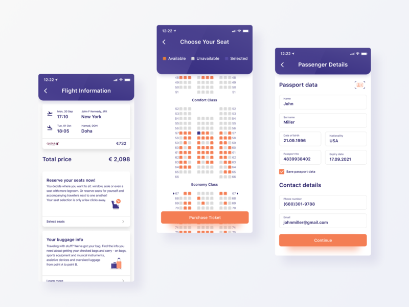 Book a flight mobile app design payment qatar flight flight booking booking transportation product design figma iphone x ios app app ui